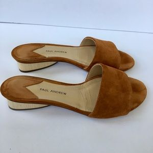 Paul Andrew Lina caramel suede slides